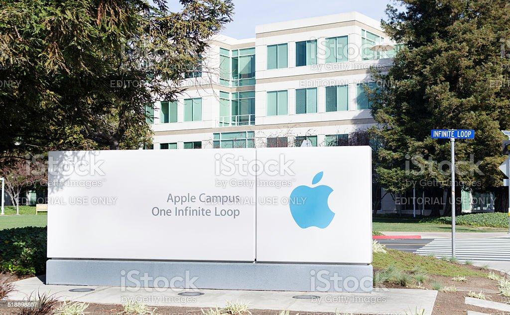 apple campus stock photo