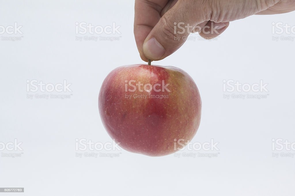 Apple caught by a man's hand. stock photo