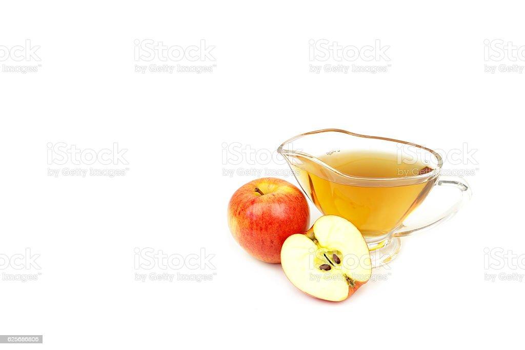 Apple cider vinegar isolated on white background stock photo