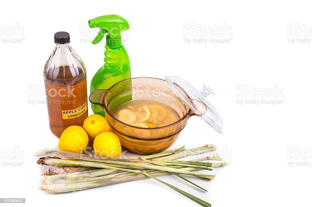 Apple cider vinegar, lemon,  lemongrass effective insect repelle stock photo