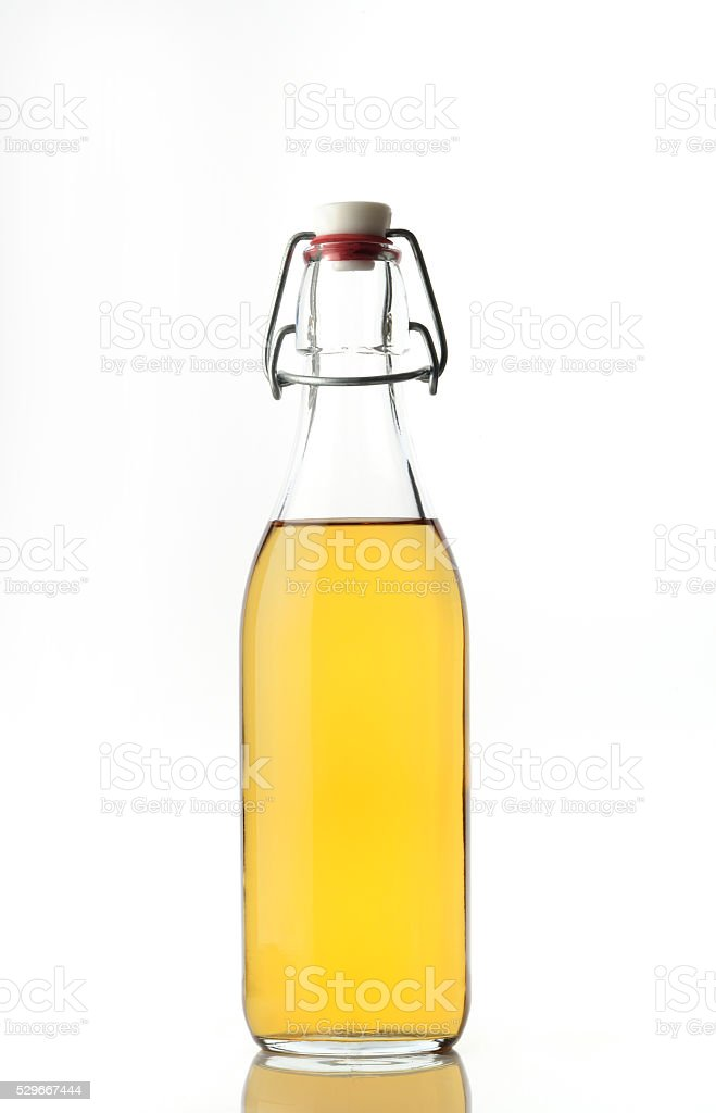 Apple Cider Vinegar on White Background stock photo