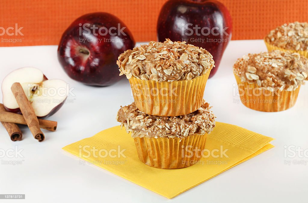 Apple Cinnamon Muffins with Oat Granola Topping stock photo