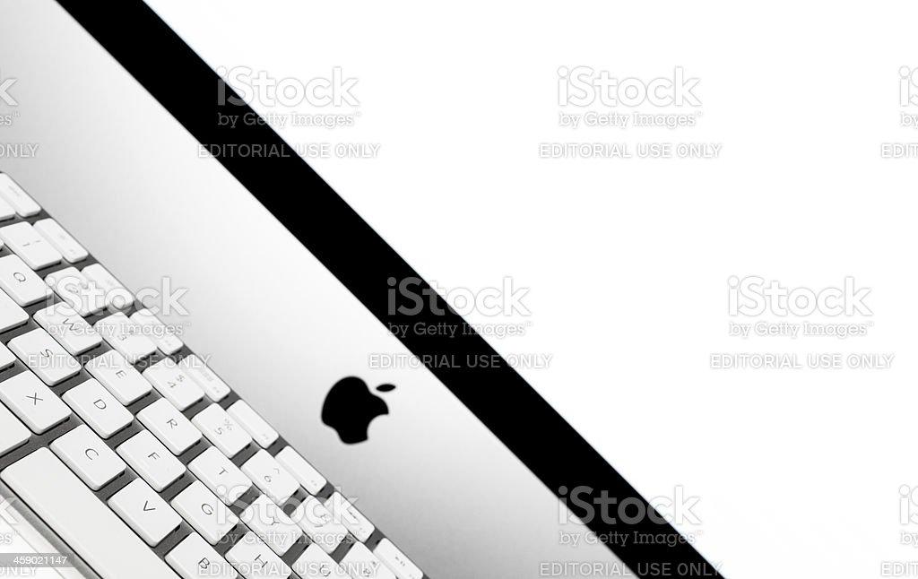 Apple Computer iMac screen and keyboard royalty-free stock photo