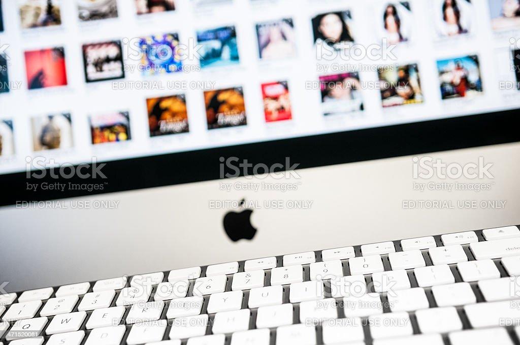 Apple Computer iMac screen and keyboard stock photo