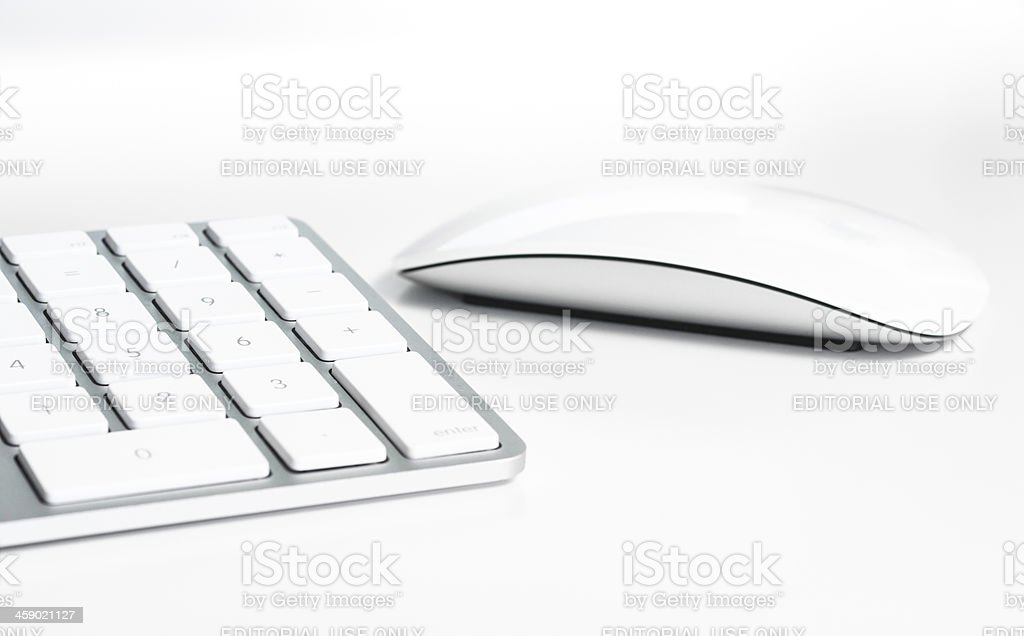 Apple Computer Keyboard and Magic Mouse stock photo