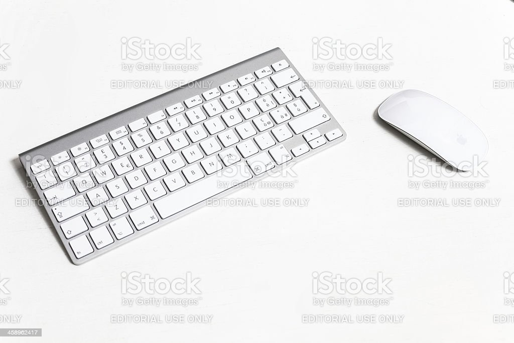 Apple Computer Wireless Keyboard Detail and Magic Mouse stock photo