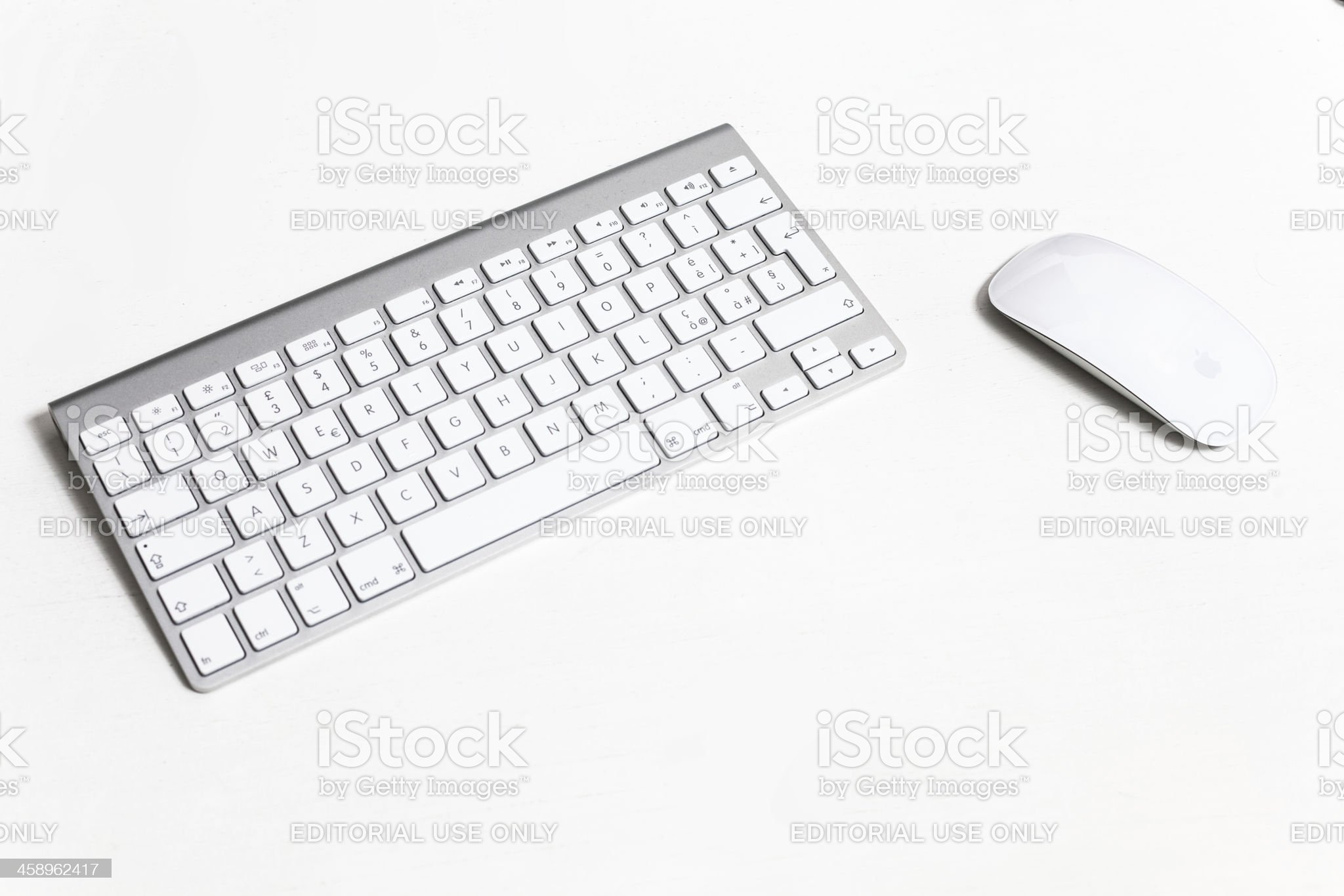 Apple Computer Wireless Keyboard Detail and Magic Mouse royalty-free stock photo