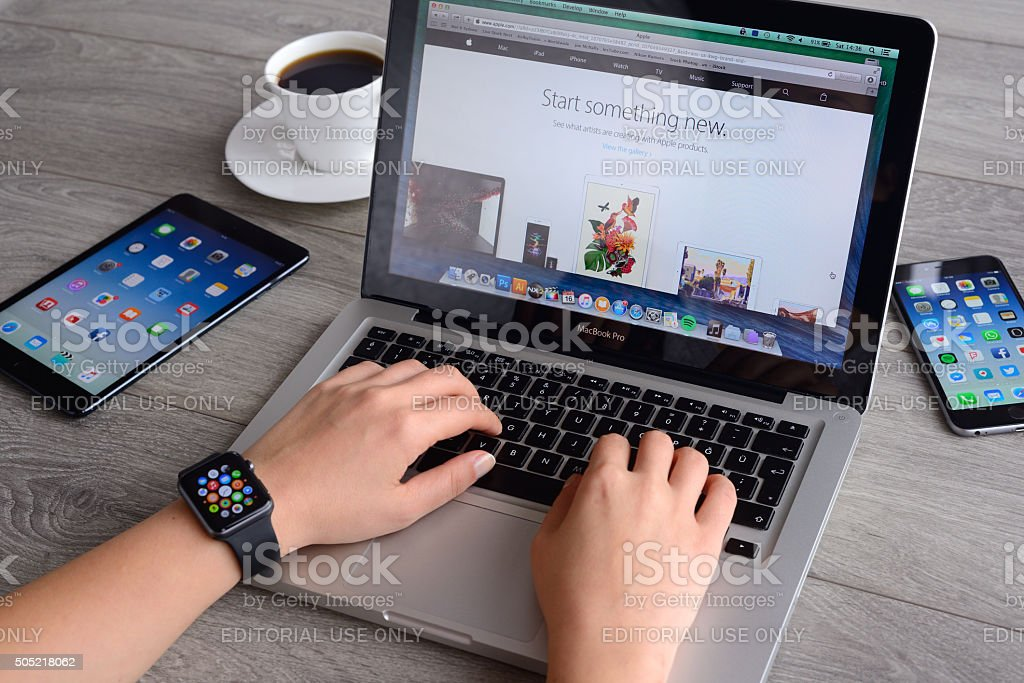 Apple computers and products stock photo