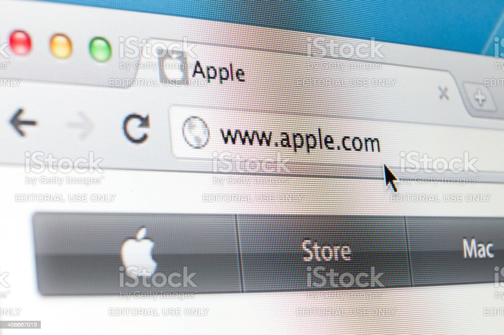 Apple computers webpage on the browser royalty-free stock photo