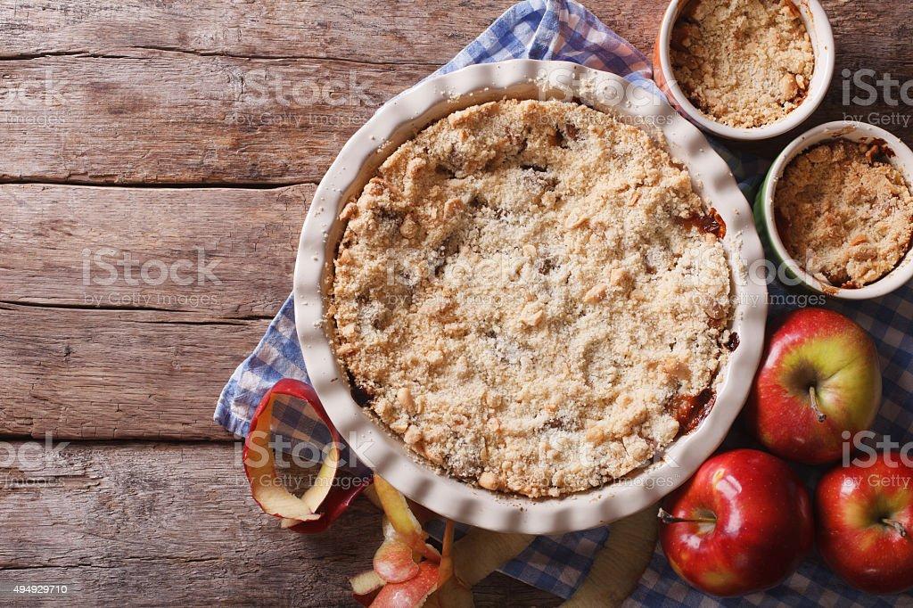 apple crisp closeup in baking dish, horizontal top view stock photo