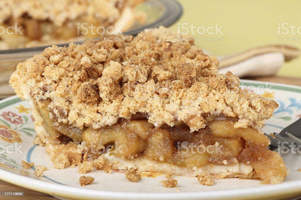 Apple Crumb Pie Closeup stock photo