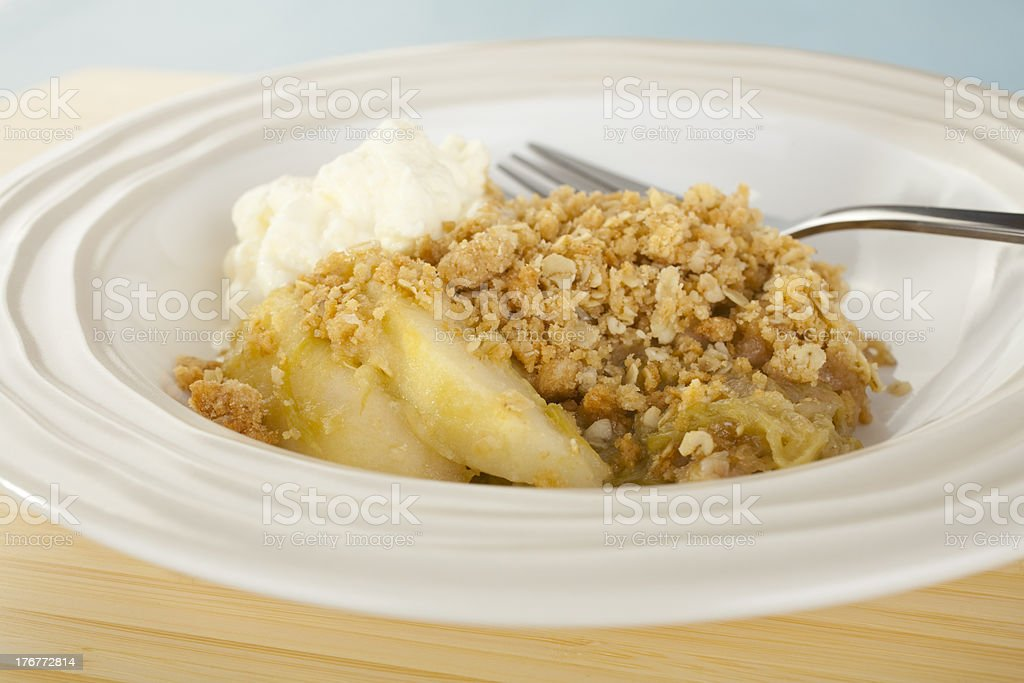 Apple Crumble and Whipped Cream royalty-free stock photo