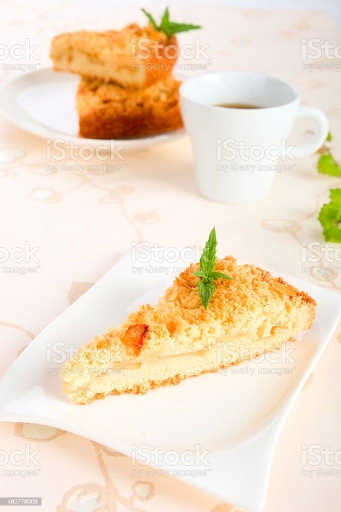 Apple crumble cake stock photo