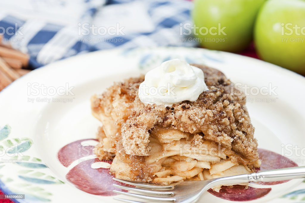 Apple Crumble with cream royalty-free stock photo