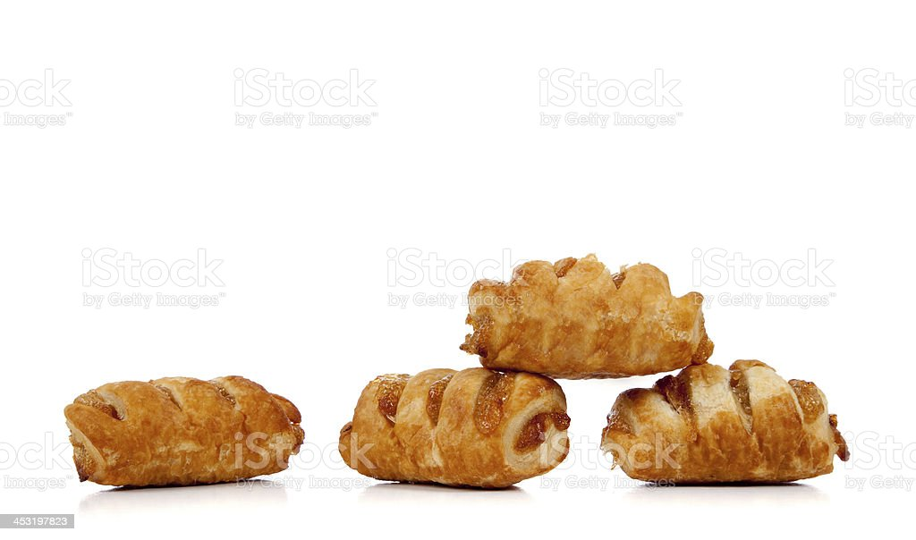 Apple danish on white with copy space stock photo