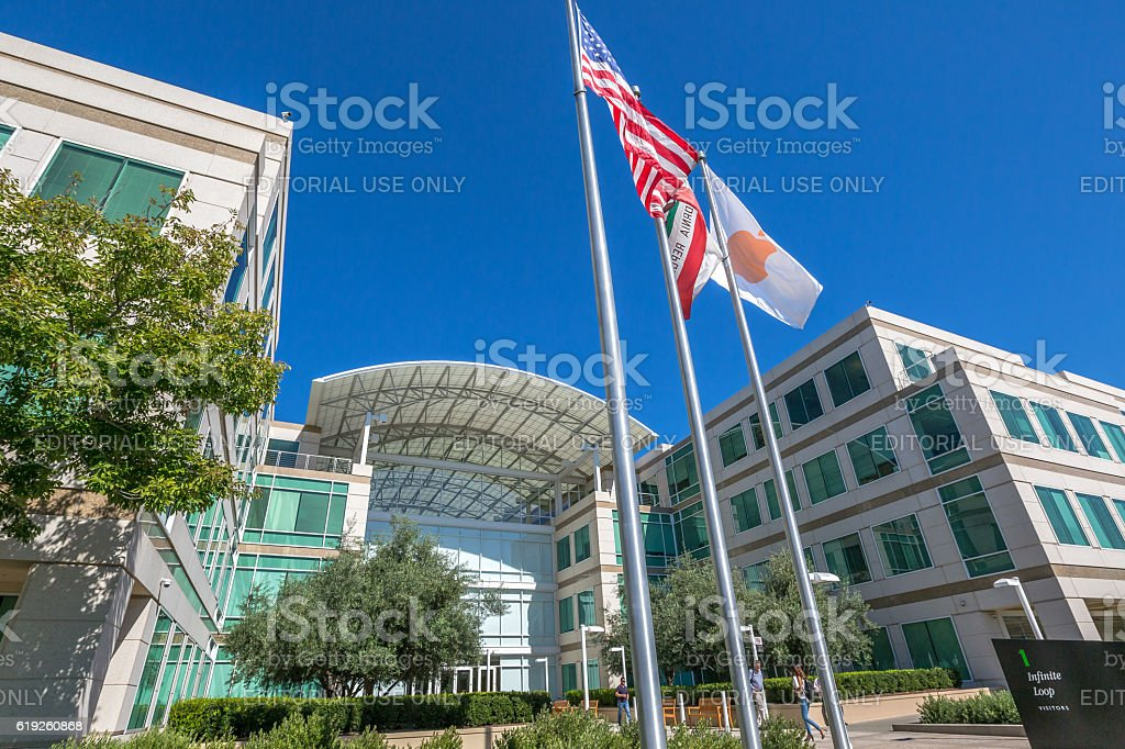Apple Flag Cupertino stock photo