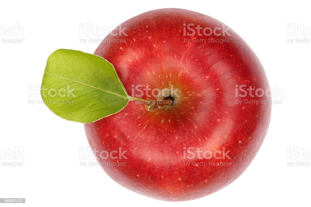 Apple fruit red top view isolated on white stock photo
