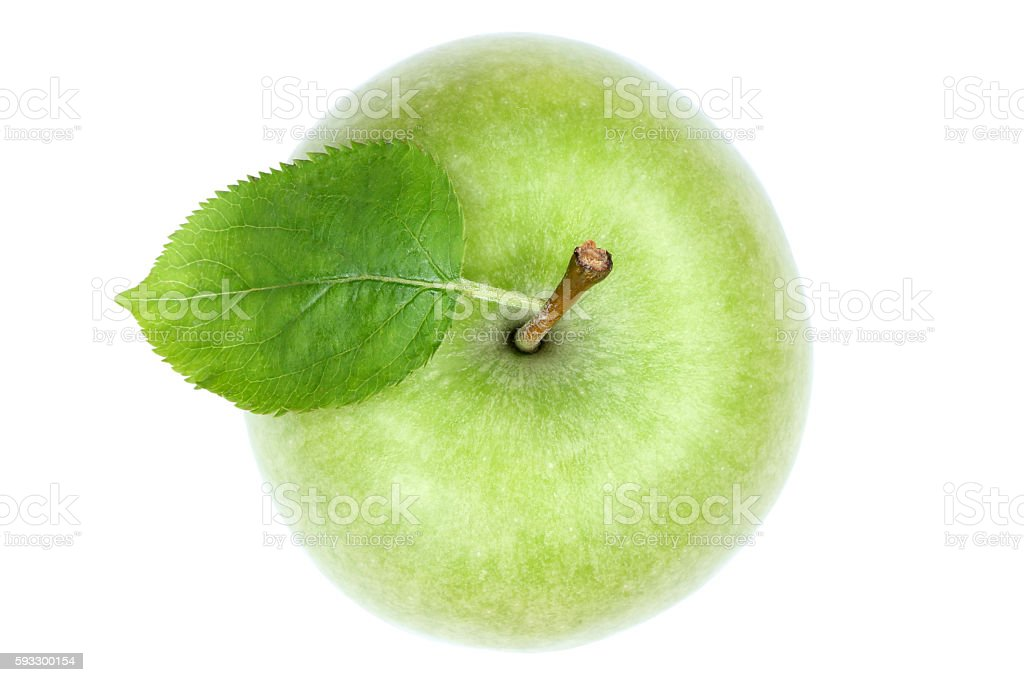 Apple fruit top view green isolated on white stock photo