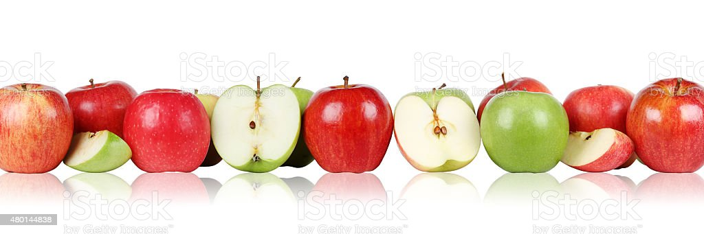 Apple fruits apples border in a row isolated stock photo