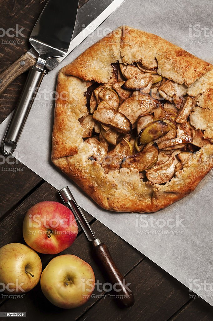 Apple Galette in Rustic Setting stock photo