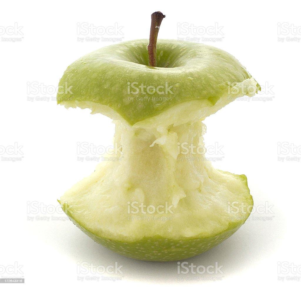 apple green isolated eaten stock photo