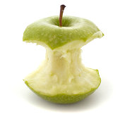 apple green isolated eaten