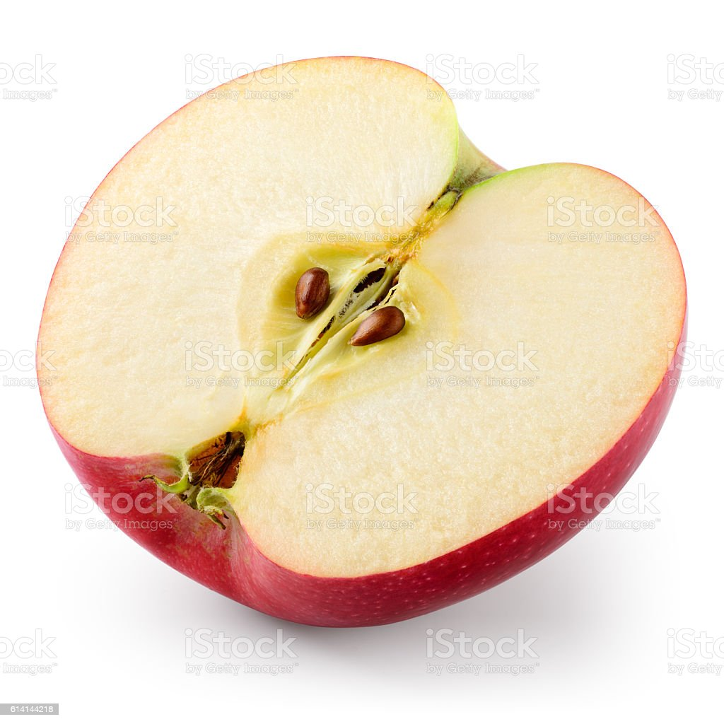 Apple. Half isolated on white. With clipping path. stock photo