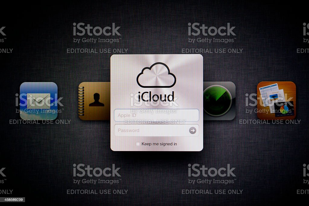 Apple iCloud Web Page stock photo