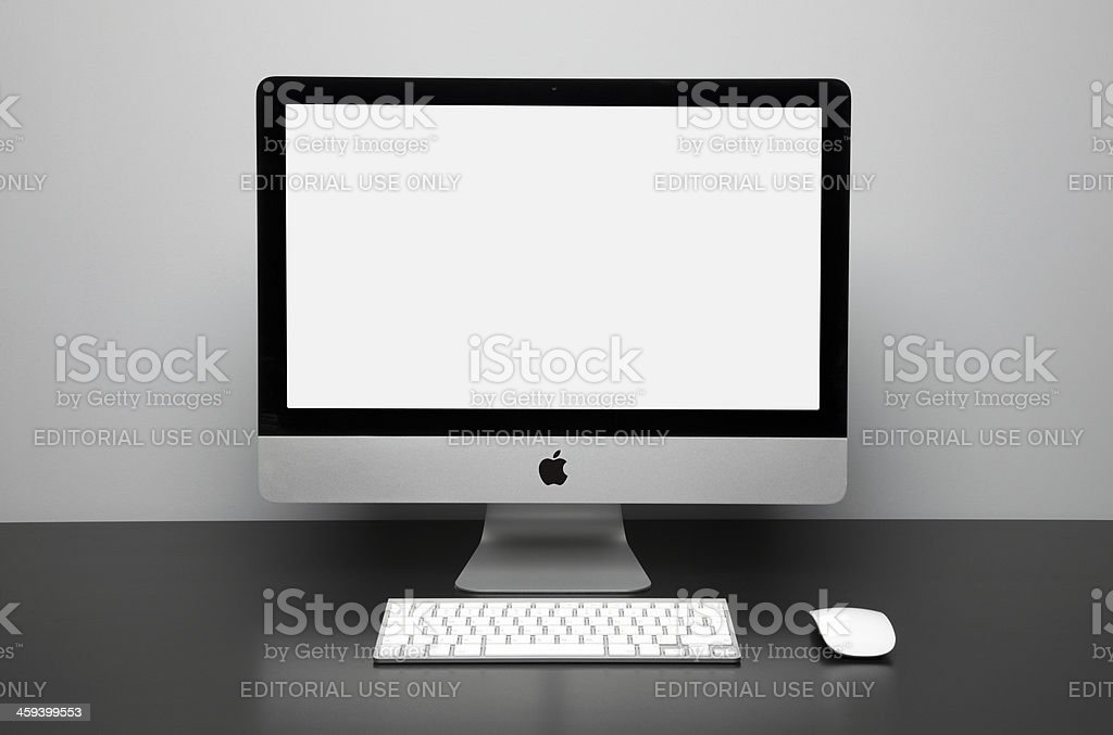Apple iMac desktop computer with white monitor stock photo