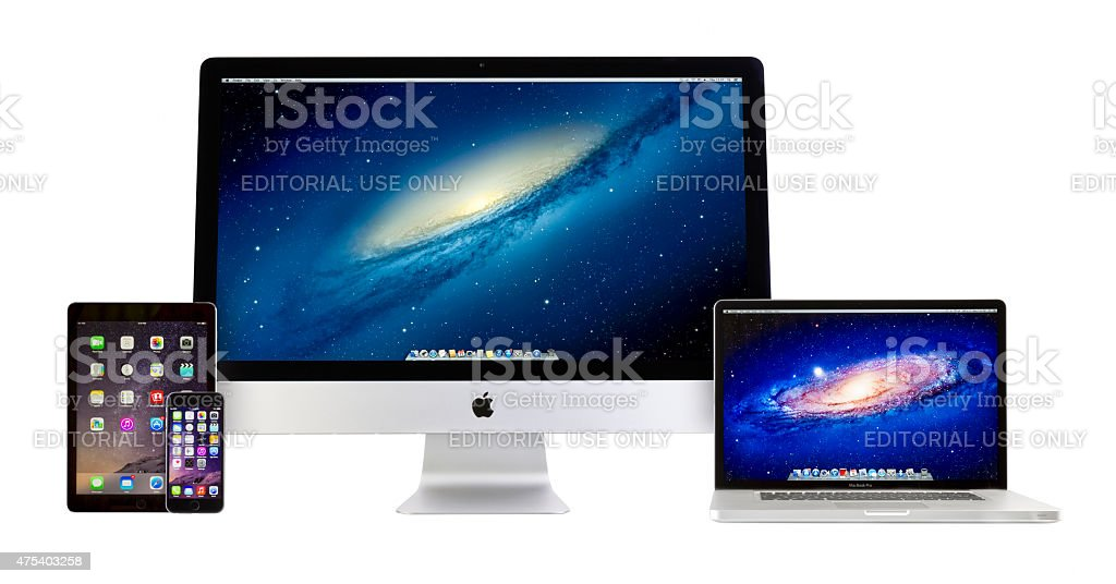 Apple iMac, Macbook Pro, iPad Air 2 and iPhone 6 stock photo