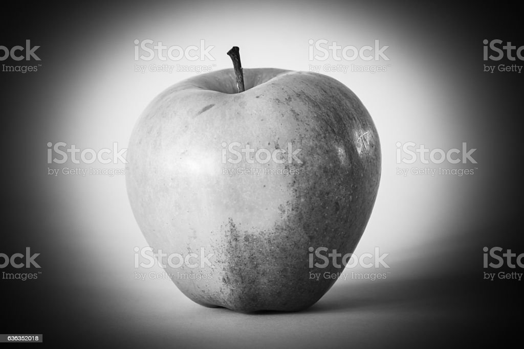 Apple in black and white stock photo