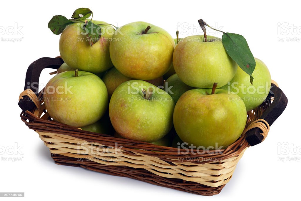 Apple in the basket stock photo