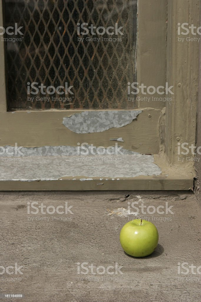 Apple in the Doorway royalty-free stock photo