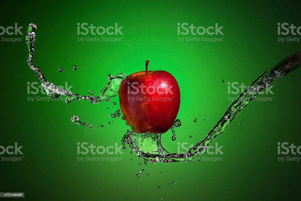 Apple In Water Splash royalty-free stock photo