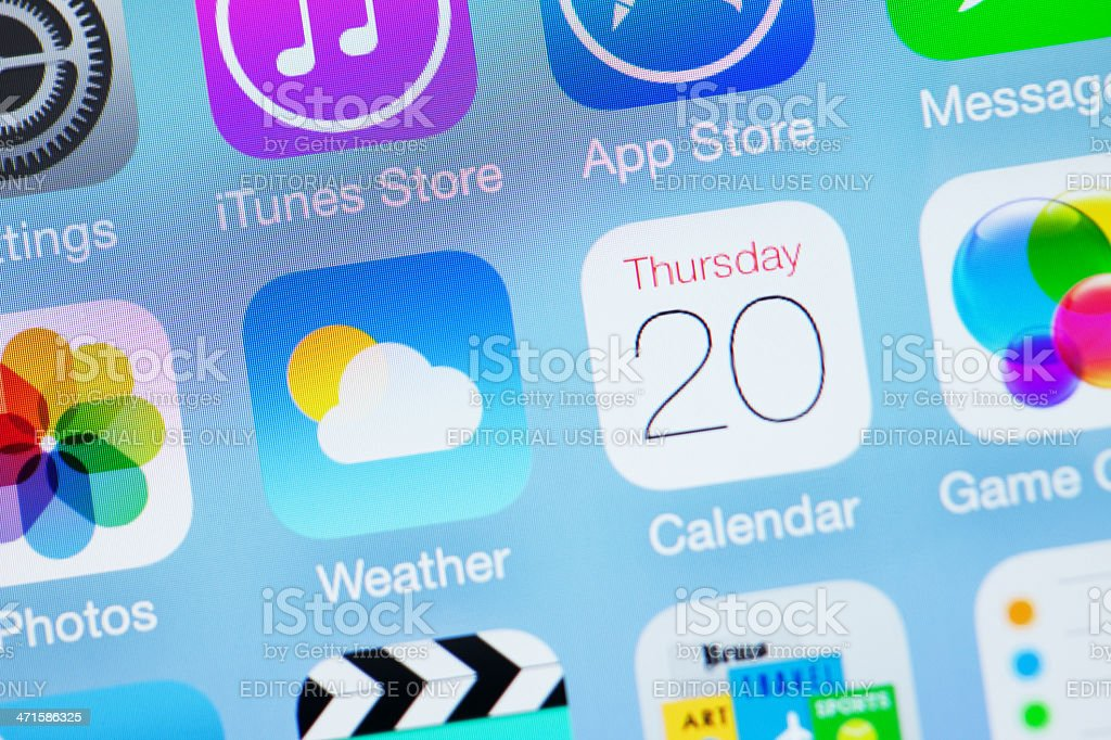 Apple iOS7 Icon - Weather Calendar royalty-free stock photo