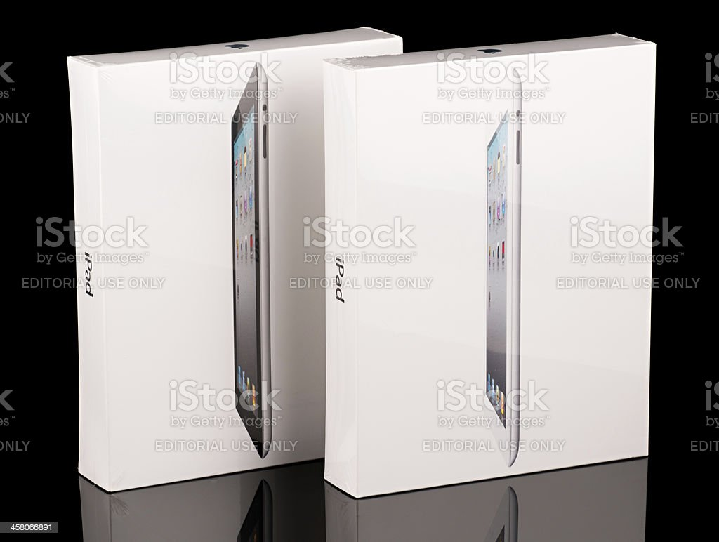Apple iPad 2 Packages, Black and White versions, Shrink Wrapped stock photo