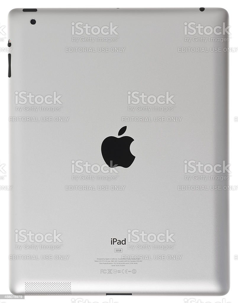 Apple iPad 2 rear view, studio isolated product shot stock photo