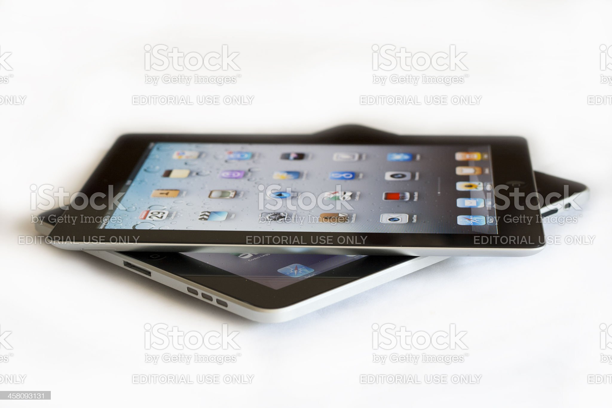 Apple ipad 2 vs the first version royalty-free stock photo
