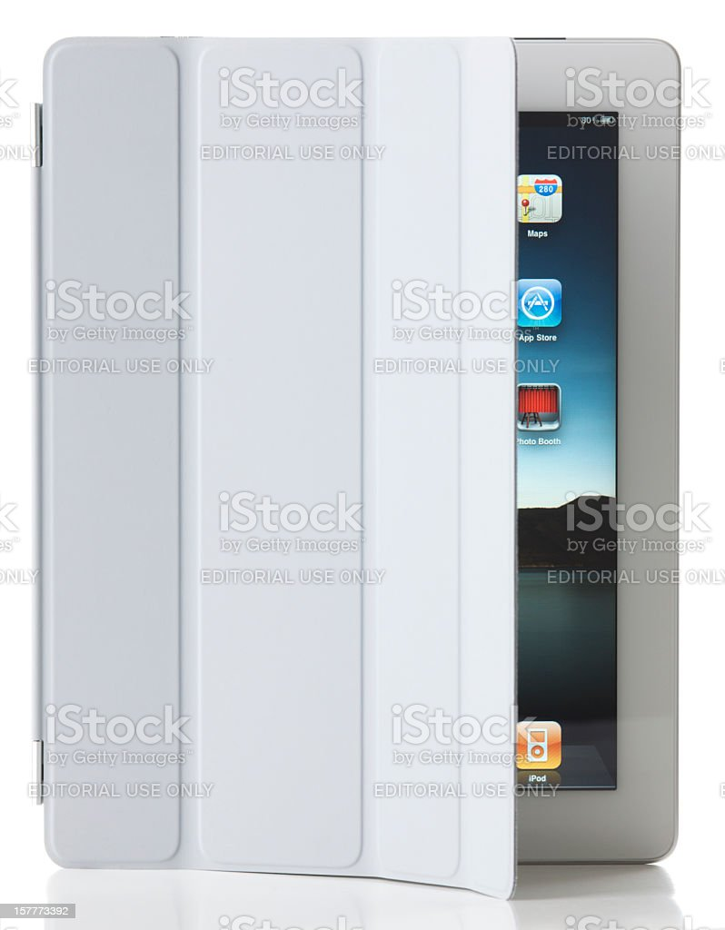 Apple iPad 2 Wi-Fi + 3G with Smart Cover royalty-free stock photo