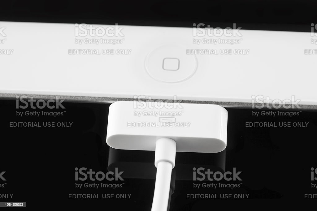Apple iPad 2 with Battery Charger stock photo