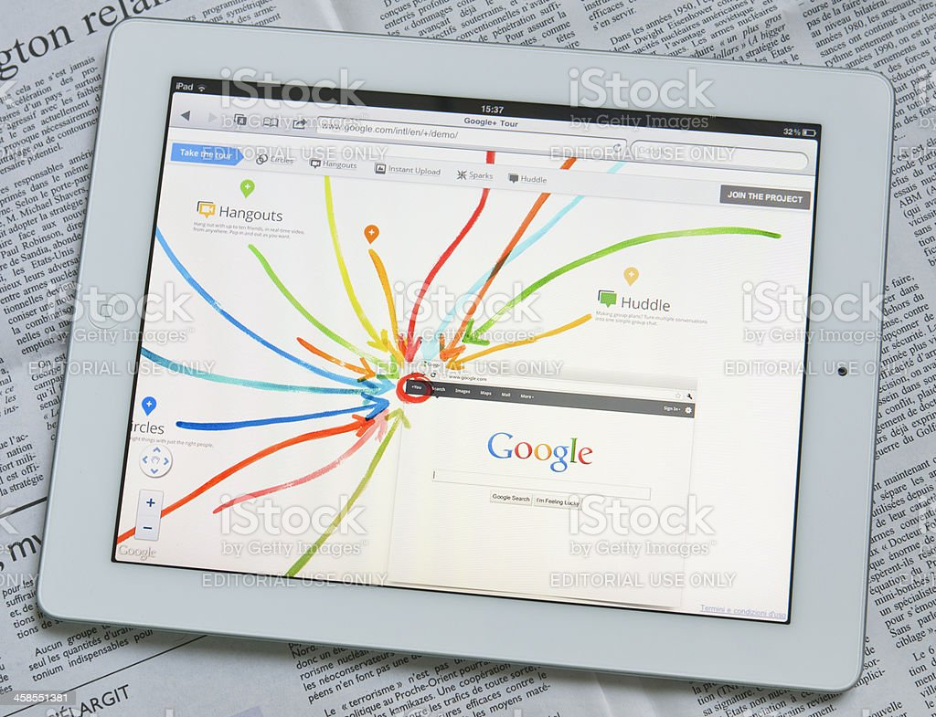 Apple Ipad 2 with Google Plus web site on screen stock photo