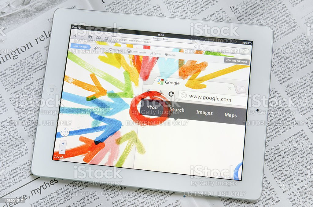 Apple Ipad 2 with Google Plus web site on screen royalty-free stock photo