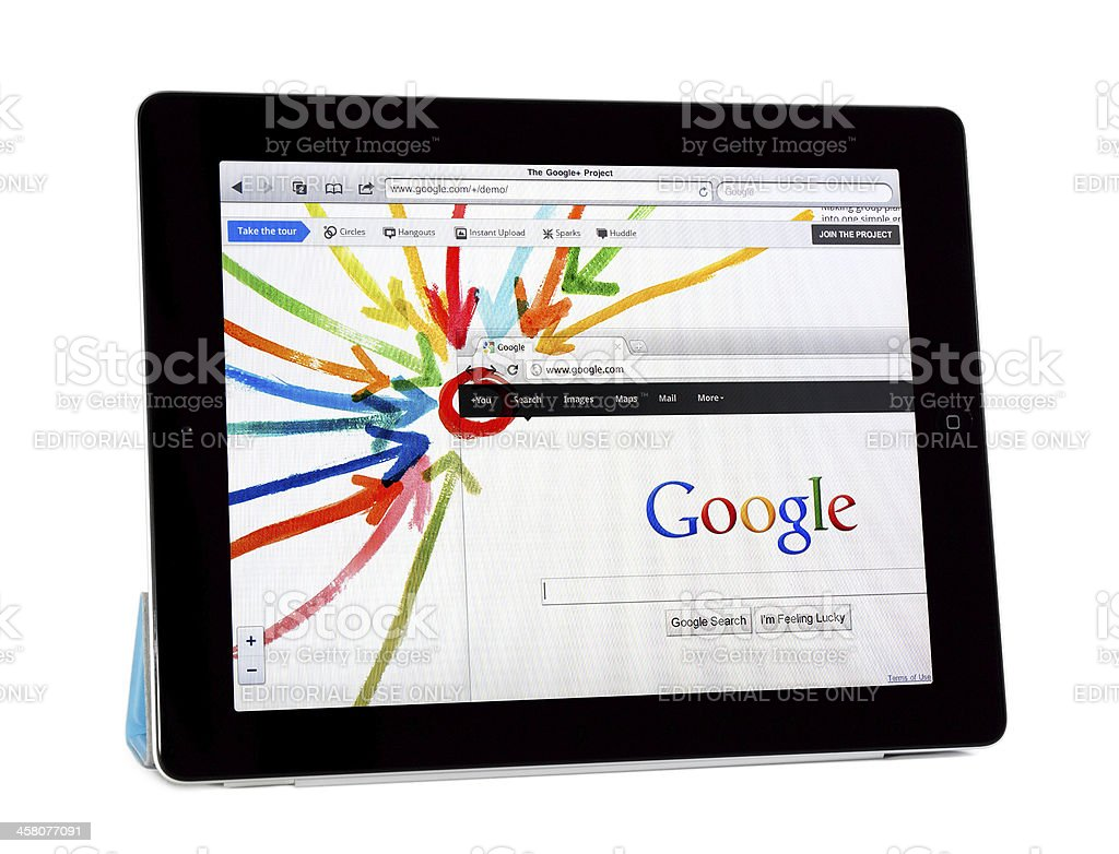 Apple Ipad 2 with Google+ Project royalty-free stock photo