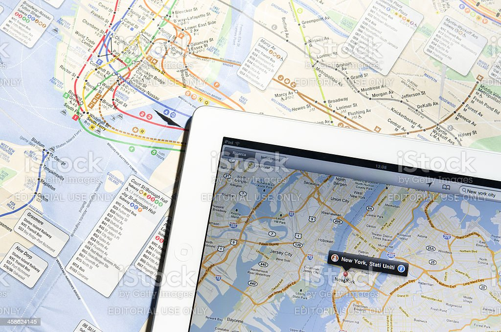 Apple Ipad 2 with New York City maps stock photo
