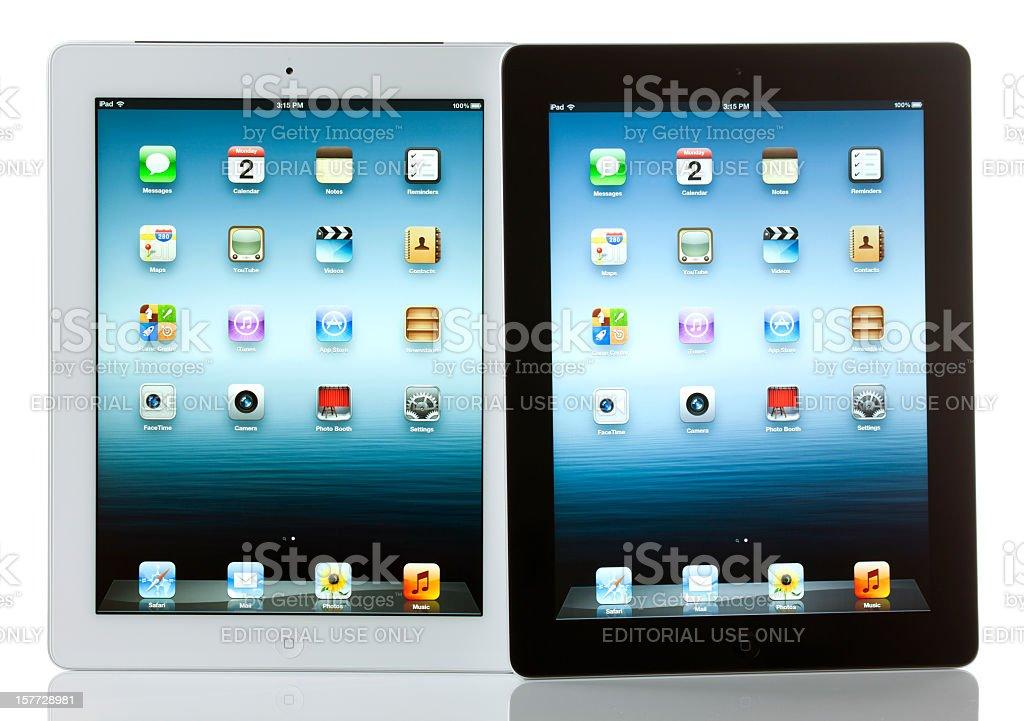 Apple iPad 3 Both White and Black Models royalty-free stock photo