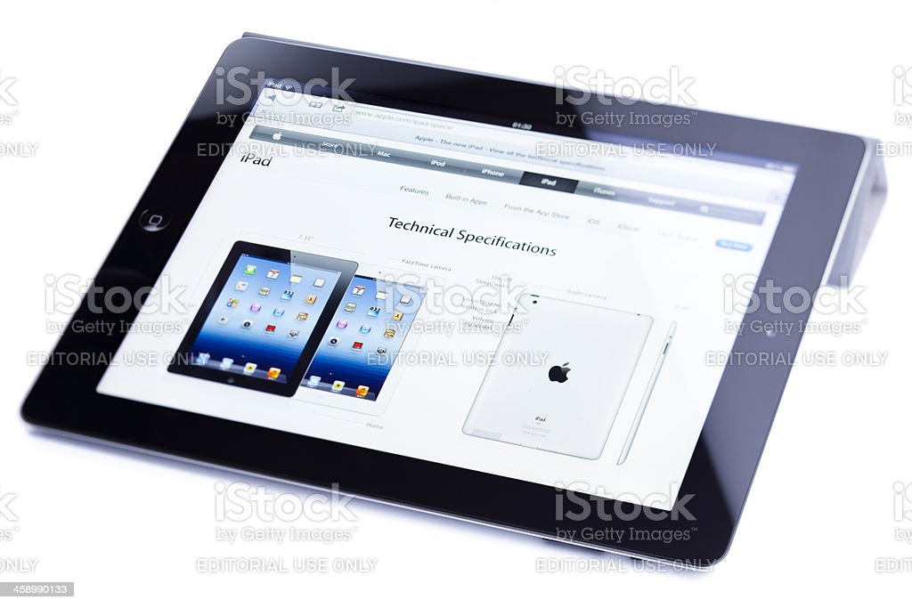 Apple iPad 3, (the new iPad), isolated on white royalty-free stock photo