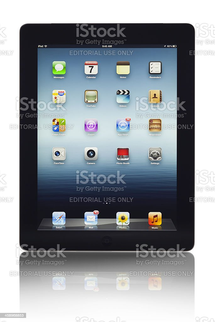 Apple iPad 3 Wi-Fi + 4G LTE Black 3rd Generation Tablet stock photo