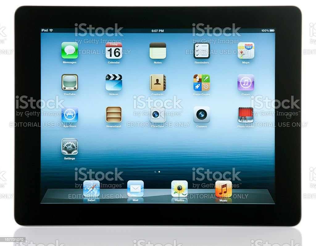 Apple iPad 3 Wi-Fi with Clipping Paths royalty-free stock photo