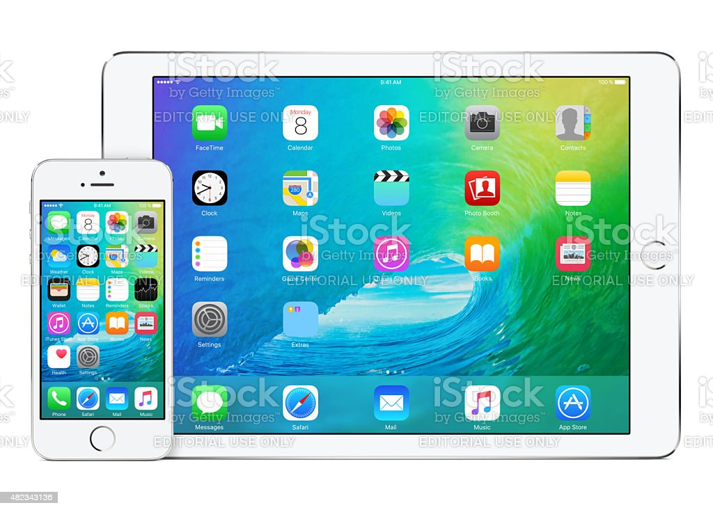 Apple iPad Air 2 and iPhone 5s with iOS 9 stock photo
