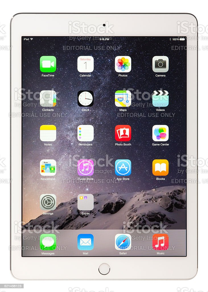 Apple iPad Air 2 Silver White with Clipping Paths stock photo